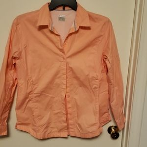 Columbia fishing shirt. It's a peach color.